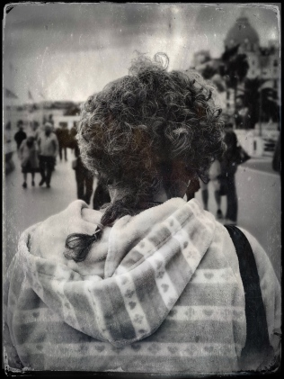 weird braid, old lady, promenade des anglais, nice france march 4 2019